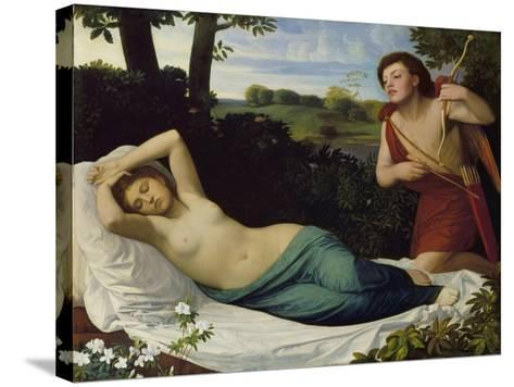 Cupid and Psyche-Alphonse Legros-Stretched Canvas Print