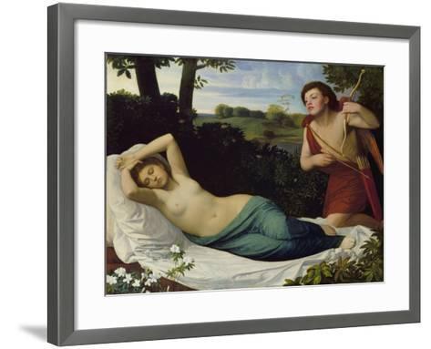 Cupid and Psyche-Alphonse Legros-Framed Art Print