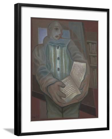 Pierrot with Book-Juan Gris-Framed Art Print