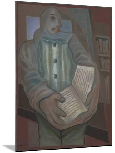 Pierrot with Book-Juan Gris-Mounted Giclee Print
