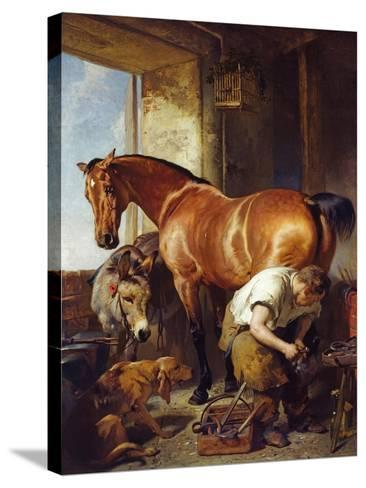 Shoeing-Edwin Henry Landseer-Stretched Canvas Print