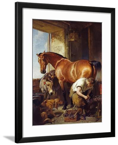 Shoeing-Edwin Henry Landseer-Framed Art Print