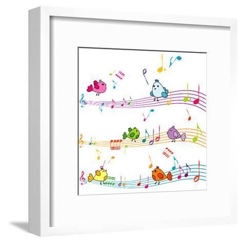 Music Note with Cartoon Birds Singing-hibrida13-Framed Art Print