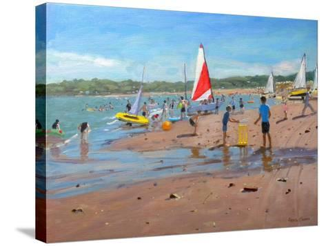 Cricket and Red and White Sail, Abersoch, 2011-Andrew Macara-Stretched Canvas Print