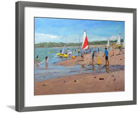 Cricket and Red and White Sail, Abersoch, 2011-Andrew Macara-Framed Art Print