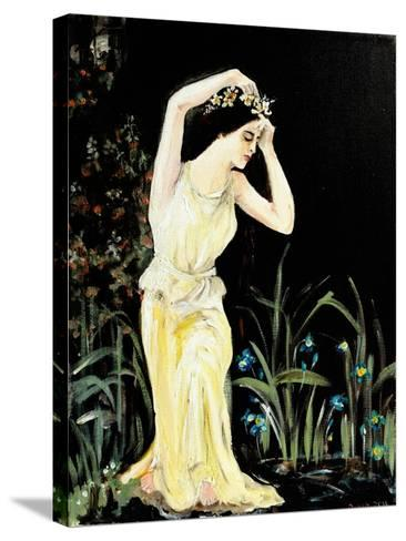 Lady by Pool-Susan Adams-Stretched Canvas Print