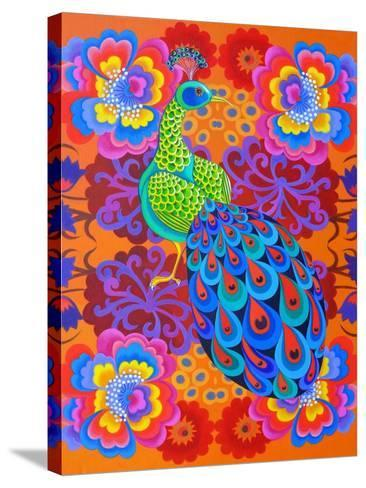 Peacock with Flowers, 2015-Jane Tattersfield-Stretched Canvas Print