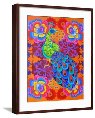 Peacock with Flowers, 2015-Jane Tattersfield-Framed Art Print