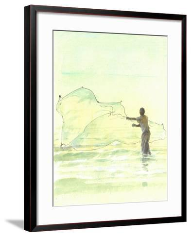 Lone Fisherman 2, 2015-Lincoln Seligman-Framed Art Print