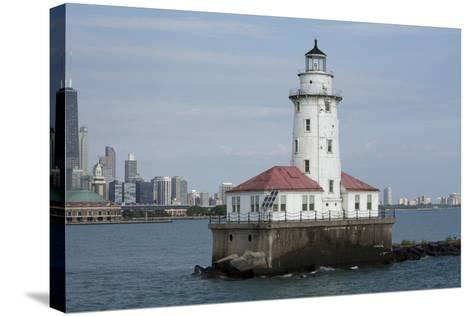 Illinois, Chicago, Lake Michigan. Chicago Harbor Light with Skyline-Cindy Miller Hopkins-Stretched Canvas Print