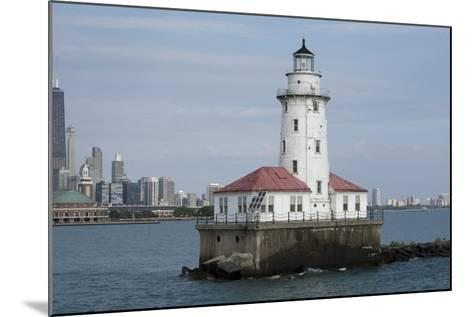 Illinois, Chicago, Lake Michigan. Chicago Harbor Light with Skyline-Cindy Miller Hopkins-Mounted Photographic Print