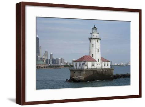 Illinois, Chicago, Lake Michigan. Chicago Harbor Light with Skyline-Cindy Miller Hopkins-Framed Art Print