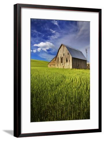 Old Barn Surrounded by Spring Wheat Field, Pr-Terry Eggers-Framed Art Print