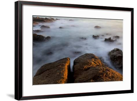 Africa, South Africa. Sunset on Ocean and Shore Rocks-Jaynes Gallery-Framed Art Print