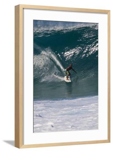 USA, Hawaii, Oahu, Surfers in Action at the Pipeline-Terry Eggers-Framed Art Print