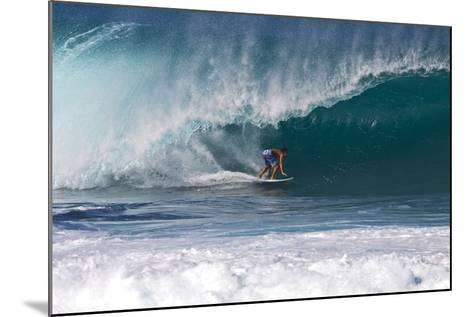 USA, Hawaii, Oahu, Surfers in Action at the Pipeline-Terry Eggers-Mounted Photographic Print