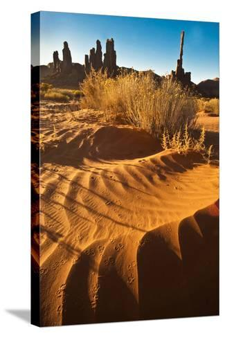 USA, Utah, Monument Valley. Totem Pole Formation and Sand Dunes-Jaynes Gallery-Stretched Canvas Print