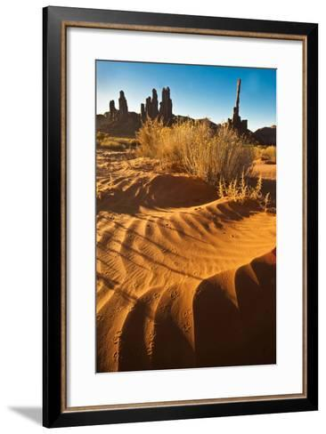 USA, Utah, Monument Valley. Totem Pole Formation and Sand Dunes-Jaynes Gallery-Framed Art Print