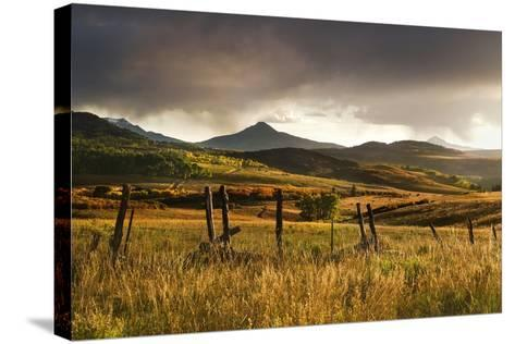 USA, Colorado, San Juan Mountains. Landscape and Fence at Sunset-Jaynes Gallery-Stretched Canvas Print