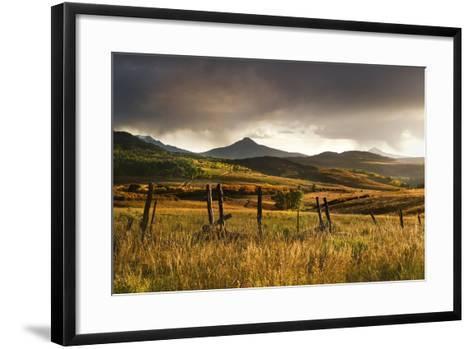 USA, Colorado, San Juan Mountains. Landscape and Fence at Sunset-Jaynes Gallery-Framed Art Print