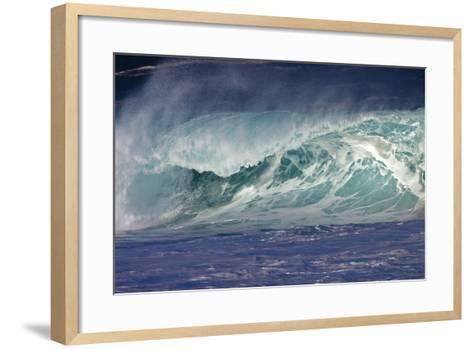 Hawaii, Oahu, Large Waves Along the Pipeline Beach-Terry Eggers-Framed Art Print