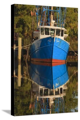 USA, Florida, Apalachicola, Shrimp Boat Docked at Apalachicola-Joanne Wells-Stretched Canvas Print