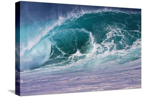 Hawaii, Oahu, Large Waves Along the Pipeline Beach-Terry Eggers-Stretched Canvas Print