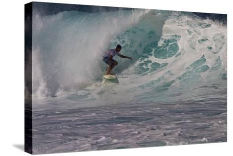 Hawaii, Oahu, Surfers in Action at the Pipeline on the Coast-Terry Eggers-Stretched Canvas Print