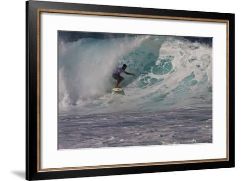 Hawaii, Oahu, Surfers in Action at the Pipeline on the Coast-Terry Eggers-Framed Art Print