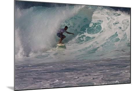 Hawaii, Oahu, Surfers in Action at the Pipeline on the Coast-Terry Eggers-Mounted Photographic Print