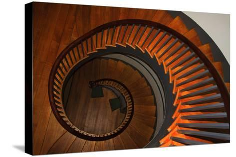 USA, Kentucky, Pleasant Hill, Spiral Staircase at the Shaker Village-Joanne Wells-Stretched Canvas Print