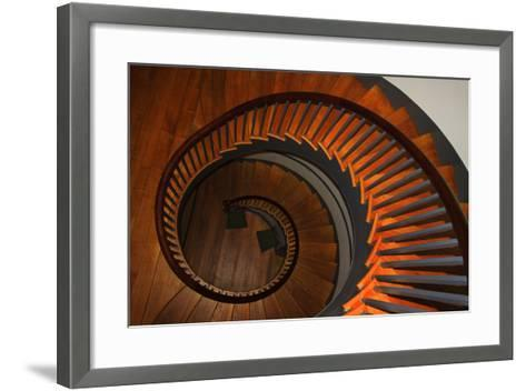 USA, Kentucky, Pleasant Hill, Spiral Staircase at the Shaker Village-Joanne Wells-Framed Art Print