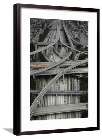 Los Angeles, Aerial of Judge Harry Pregerson Interchange and Highway-David Wall-Framed Art Print