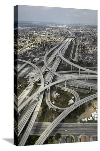 Los Angeles, Aerial of Judge Harry Pregerson Interchange and Highway-David Wall-Stretched Canvas Print