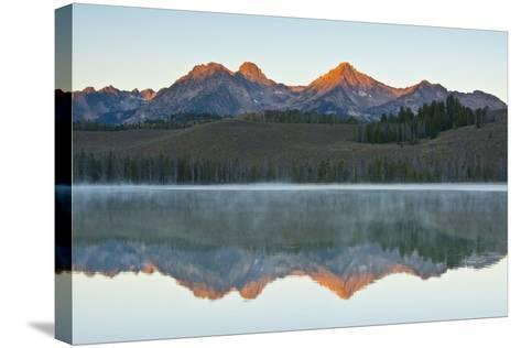 Sunrise at Sawtooth Mts, Little Redfish Lake, Stanley, Idaho-Michel Hersen-Stretched Canvas Print