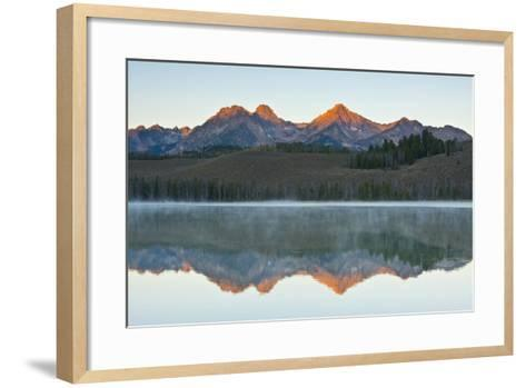 Sunrise at Sawtooth Mts, Little Redfish Lake, Stanley, Idaho-Michel Hersen-Framed Art Print