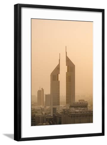 Sunset Engulfs the Jumeirah Emirates Towers Hotel Dubai, Uae-Michael DeFreitas-Framed Art Print