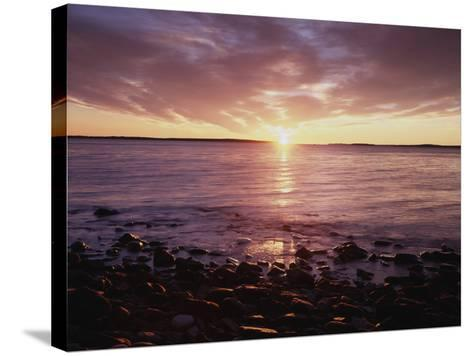 Maine, Sunrise over the Rocky Shoreline of the Atlantic Ocean-Christopher Talbot Frank-Stretched Canvas Print