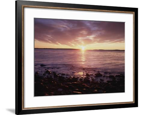 Maine, Sunrise over the Rocky Shoreline of the Atlantic Ocean-Christopher Talbot Frank-Framed Art Print