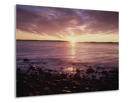 Maine, Sunrise over the Rocky Shoreline of the Atlantic Ocean-Christopher Talbot Frank-Metal Print