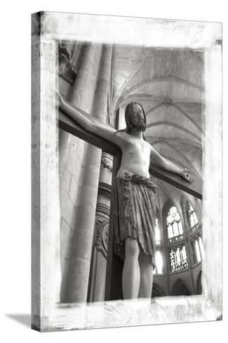 France, Burgundy, Nievre, Nevers. Crucifix at Nevers Cathedral-Kevin Oke-Stretched Canvas Print