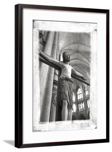 France, Burgundy, Nievre, Nevers. Crucifix at Nevers Cathedral-Kevin Oke-Framed Art Print