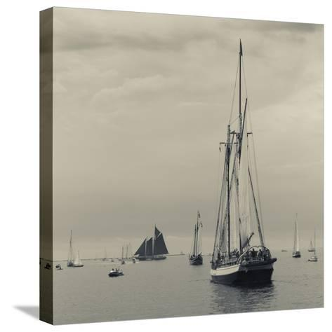 Massachusetts, Schooner Festival, Schooners in Gloucester Harbor-Walter Bibikow-Stretched Canvas Print