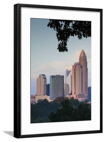 North Carolina, Charlotte, Elevated View of the City Skyline at Dusk-Walter Bibikow-Framed Art Print