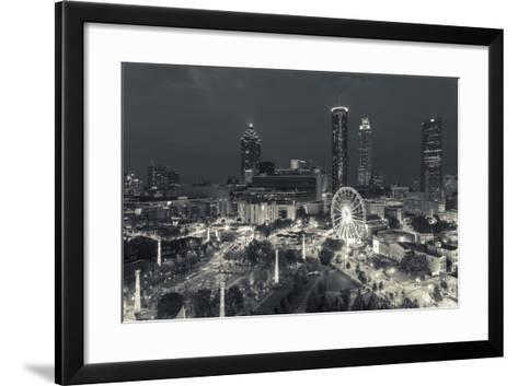 Georgia, Atlanta, Centennial Olympic Park, Elevated City View at Dusk-Walter Bibikow-Framed Art Print
