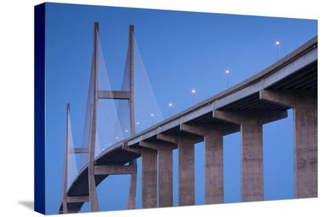 Georgia, Brunswick, Sidney Lanier Bridge, across the Brunswick River-Walter Bibikow-Stretched Canvas Print