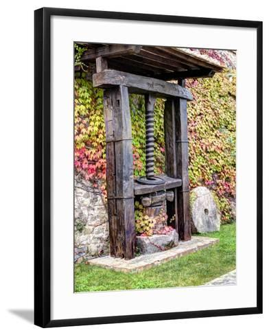 Italy, Tuscany. an Olive Oil Press on Display at a Winery in Tuscany-Julie Eggers-Framed Art Print