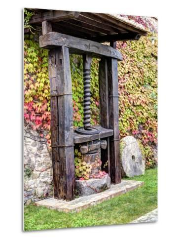 Italy, Tuscany. an Olive Oil Press on Display at a Winery in Tuscany-Julie Eggers-Metal Print