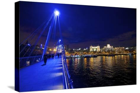 The Hungerford Pedestrian over the Thames in London, at Night-Richard Wright-Stretched Canvas Print