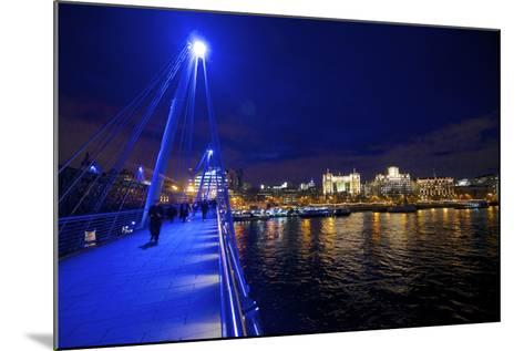 The Hungerford Pedestrian over the Thames in London, at Night-Richard Wright-Mounted Photographic Print